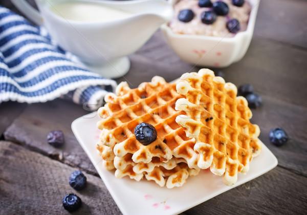 Waffle comida leite sobremesa comer colher Foto stock © tycoon