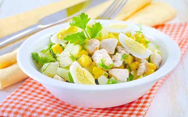 Fresh salad with chicken Stock photo © tycoon