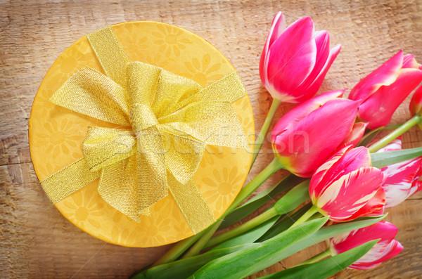 Caixa apresentar flor papel fundo tulipa Foto stock © tycoon