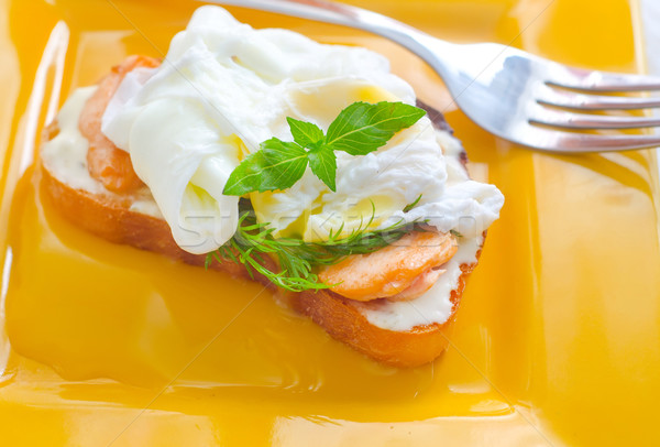 Close Up of Poached Delicious Egg with Whole Grain Bread Stock photo © tycoon