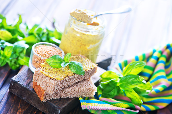 Hardal cam banka tablo gıda ahşap Stok fotoğraf © tycoon