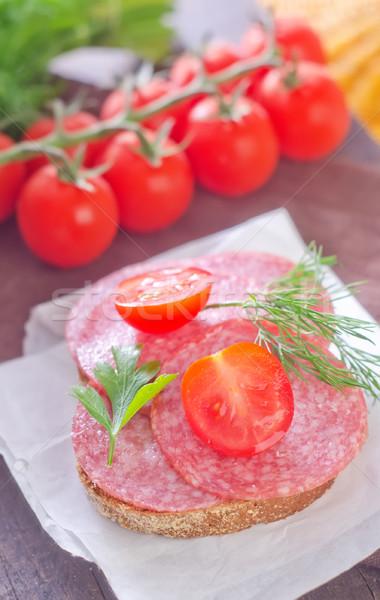 Sandviç kırmızı plaka et yağ domates Stok fotoğraf © tycoon