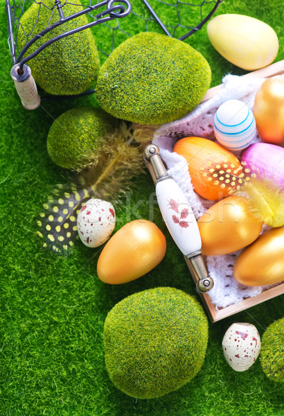 Easter eggs colore tavola Pasqua cielo fiore Foto d'archivio © tycoon