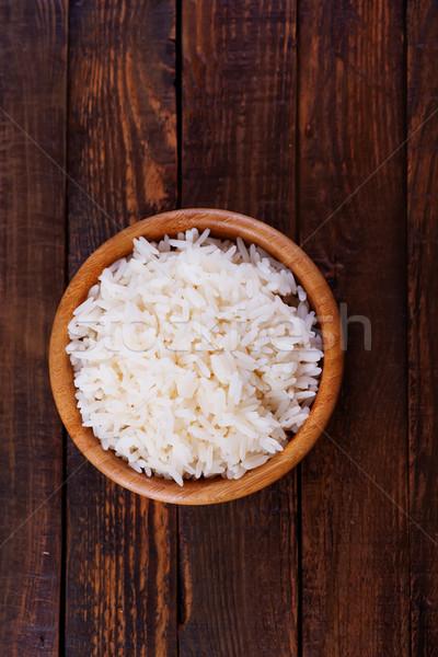Gotowany ryżu puchar tabeli tle jedzenie Zdjęcia stock © tycoon