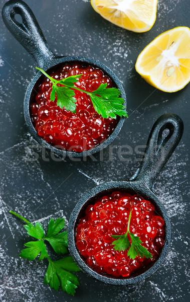 Salmón caviar rojo bolos mesa madera Foto stock © tycoon