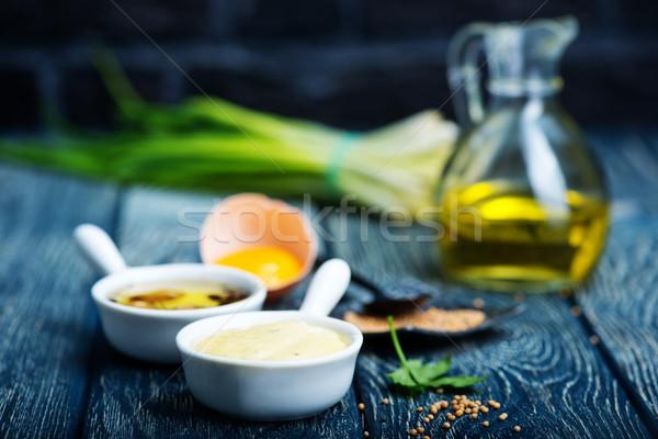 Mayonesa frescos salsa tazón mesa huevo Foto stock © tycoon