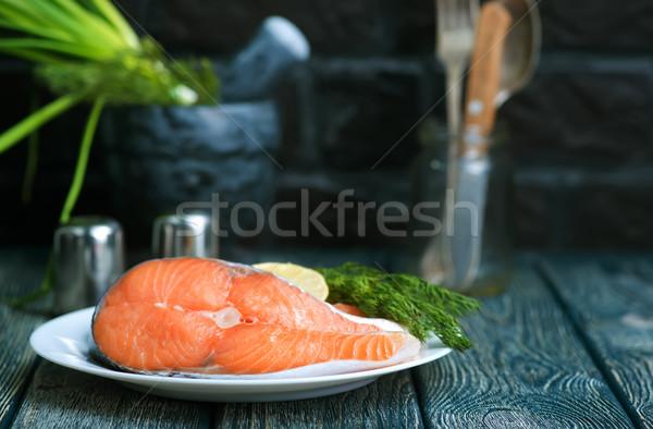 新鮮な 鮭 スパイス 表 食品 海 ストックフォト © tycoon