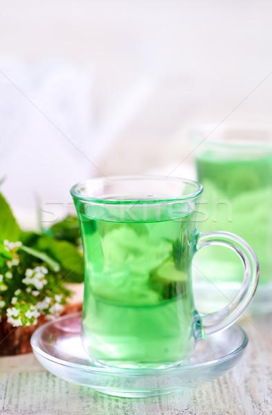 świeże tabeli liści szkła tle Zdjęcia stock © tycoon