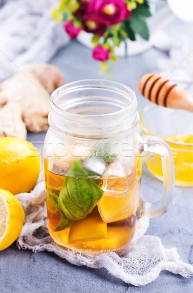 Fresco limão gengibre tabela papel madeira Foto stock © tycoon