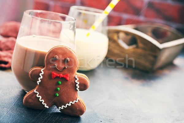 Sütik tej asztal csokoládé gyömbér étel Stock fotó © tycoon
