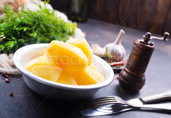 ストックフォト: ジャガイモ · ボウル · ハーブ · スパイス · 木材 · 背景