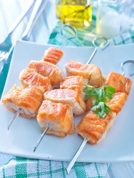 Stok fotoğraf: Somon · kebap · balık · turuncu · kırmızı · sebze
