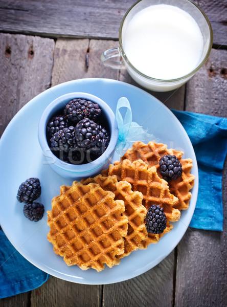 Waffle fruto chocolate sorvete café da manhã garfo Foto stock © tycoon