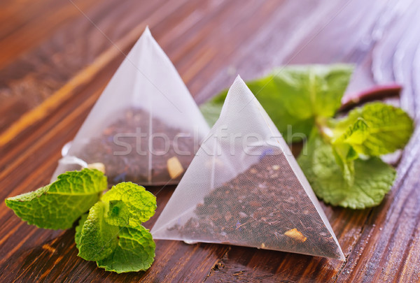 ミント 茶 木製のテーブル 新鮮な ガラス 背景 ストックフォト © tycoon