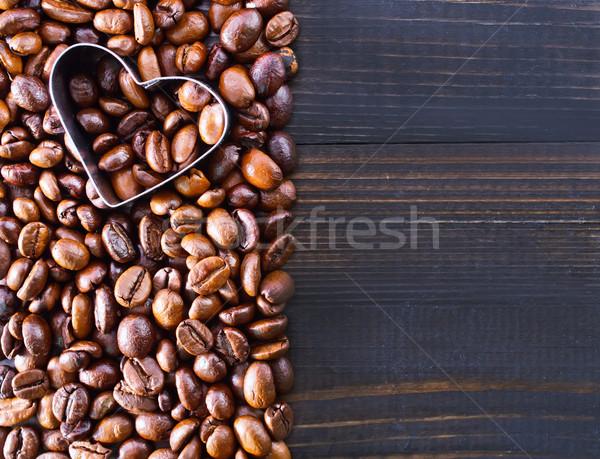 Koffie koffiebonen tabel mes vloer ontbijt Stockfoto © tycoon