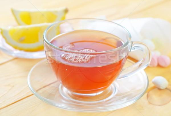 Taze çay su turuncu tablo içmek Stok fotoğraf © tycoon