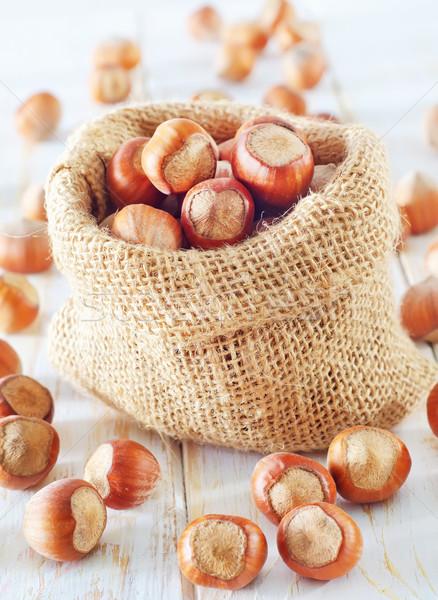 Mogyoró textúra gyümölcs táska ősz ősz Stock fotó © tycoon