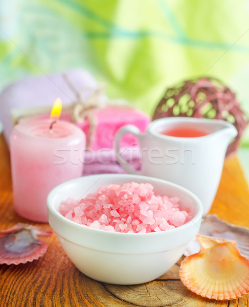 Pink sea salt and aroma oil for SPA Stock photo © tycoon