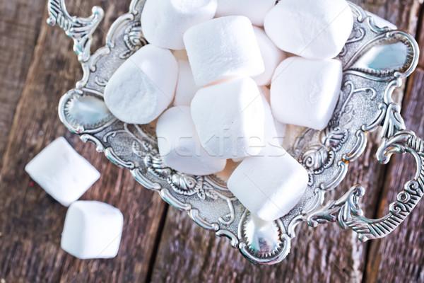 Photo stock: Guimauve · métal · plateau · table · alimentaire · bois