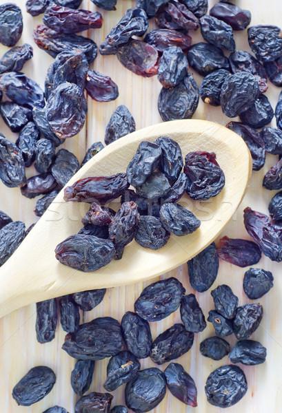 Mazsola étel kék csoport szőlő kanál Stock fotó © tycoon