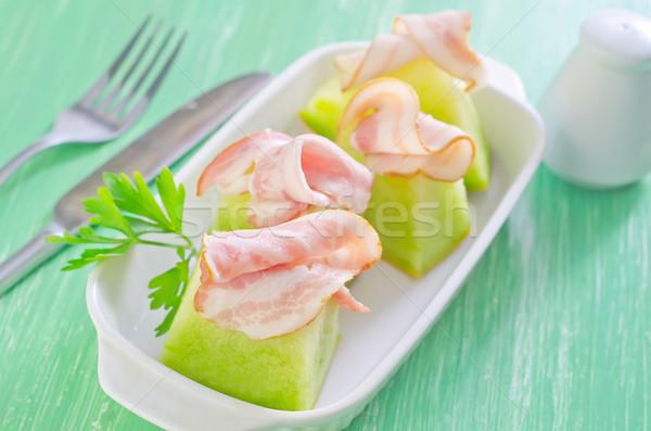 Jambon kavun gıda akşam yemeği et salata Stok fotoğraf © tycoon