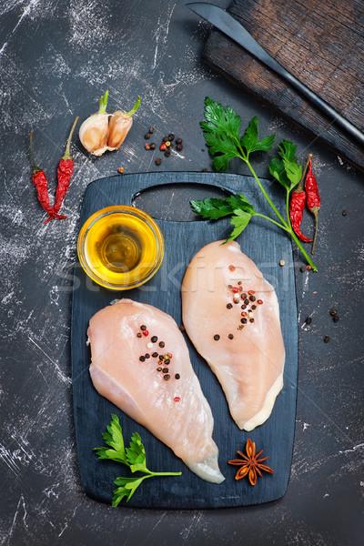 Tyúk hús nyers aroma fűszer asztal Stock fotó © tycoon