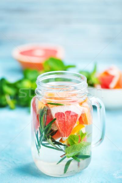 Vers drinken grapefruit rosmarijn ijs voedsel Stockfoto © tycoon