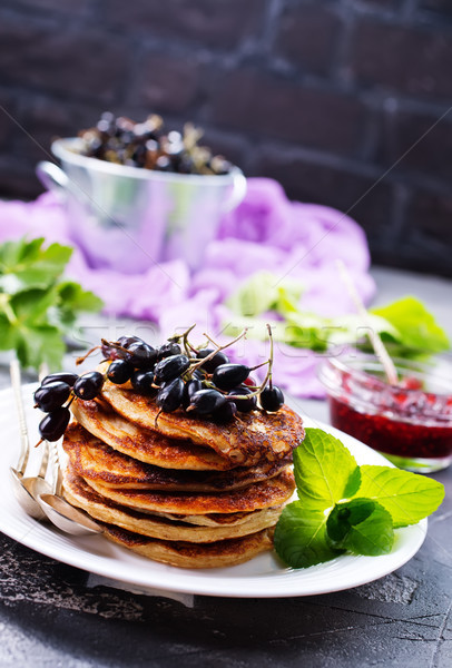 Stockfoto: Pannenkoeken · zoete · jam · plaat · voedsel · achtergrond