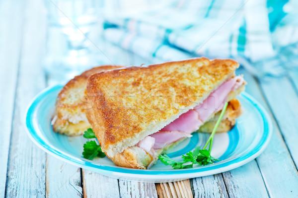 ストックフォト: サンドイッチ · ハム · 新鮮な · トマト · プレート · 食品