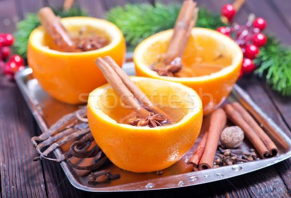 Naranja beber frescos de frutas de naranja mesa frutas Foto stock © tycoon