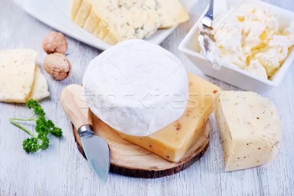 Queso bordo mesa alimentos grupo blanco Foto stock © tycoon
