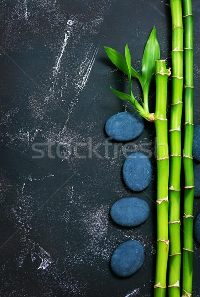 Basalt Bambus grünen schwarz Tabelle Blatt Stock foto © tycoon