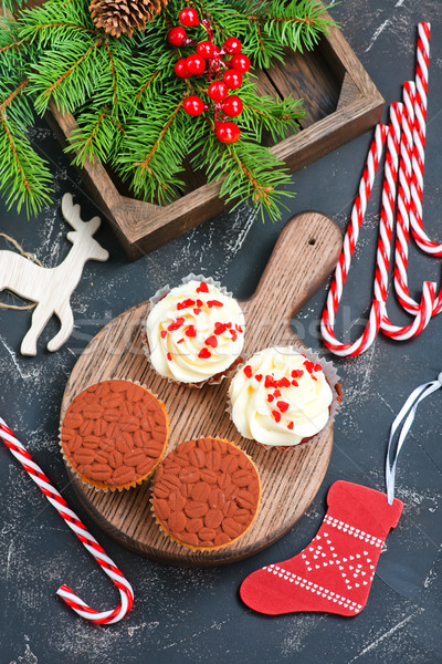 Noel dekorasyon tablo çikolata kek Stok fotoğraf © tycoon