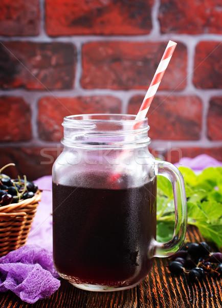 Meyve suyu siyah frenk üzümü cam grup sebze Stok fotoğraf © tycoon