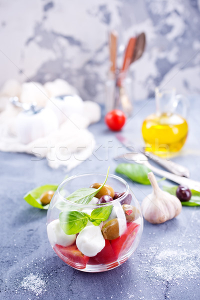 Капрезе салат Капрезе стекла чаши таблице продовольствие Сток-фото © tycoon