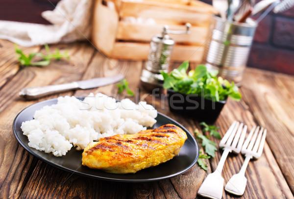 Bouilli riz sein poitrine de poulet plaque Photo stock © tycoon