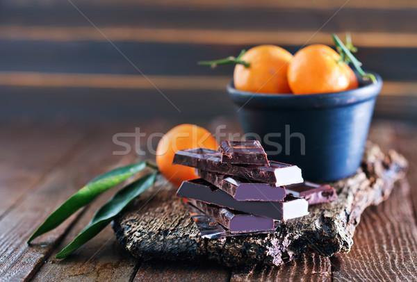 chocolate and tangerines Stock photo © tycoon