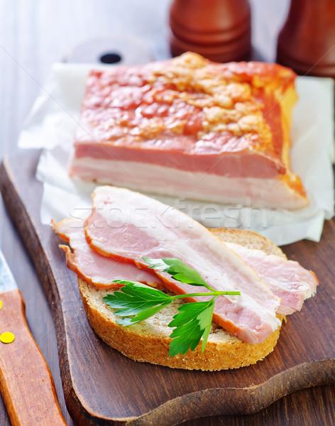 Darabok füstölt disznóhús szalonna étel hús Stock fotó © tycoon