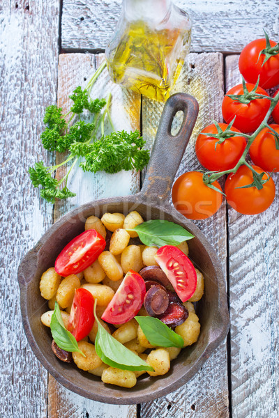 Sült étel fa vacsora tészta hús Stock fotó © tycoon