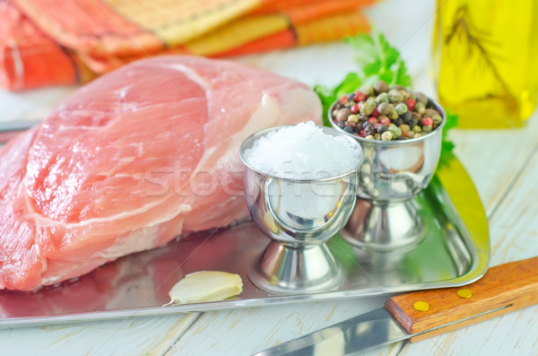 Et akşam yemeği yağ pişirme tahta Stok fotoğraf © tycoon