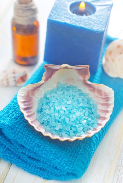 Sal marina cuerpo azul spa blanco ducha Foto stock © tycoon