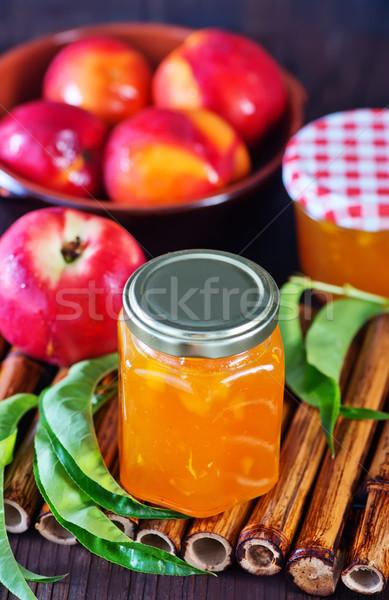 Nektarin lekvár bank asztal levél gyümölcs Stock fotó © tycoon
