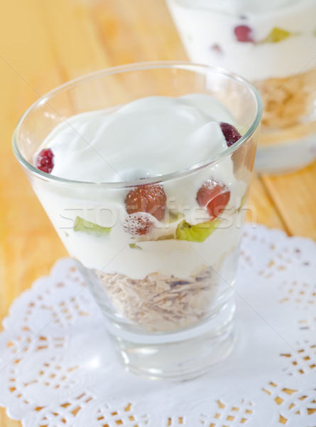 oat flakes with yogurt Stock photo © tycoon