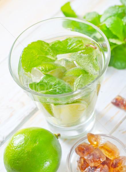Mojito buli üveg asztal koktél citrom Stock fotó © tycoon