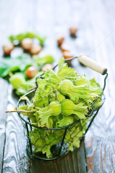 Mogyoró fa asztal ősz aratás diók természet Stock fotó © tycoon