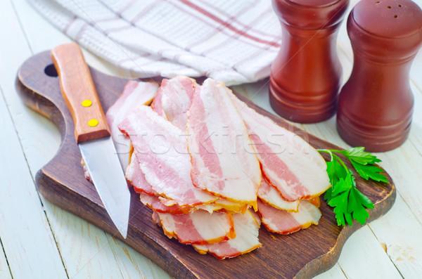 Stok fotoğraf: Füme · domuz · pastırması · gıda · arka · plan · mutfak · akşam · yemeği