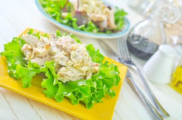 Stockfoto: Vers · salade · plaat · voedsel · tabel · kip
