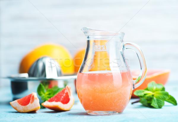 Grapefruit sap vers tabel vruchten gezondheid Stockfoto © tycoon