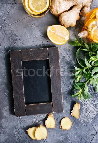 Gyömbér menta tea friss asztal nap Stock fotó © tycoon