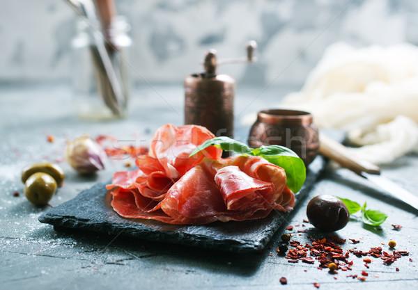 Füme jambon biber yemek tuz Stok fotoğraf © tycoon